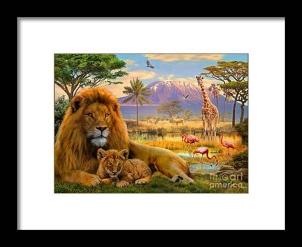 Lion Framed Print featuring the digital art Lion by MGL Meiklejohn Graphics Licensing