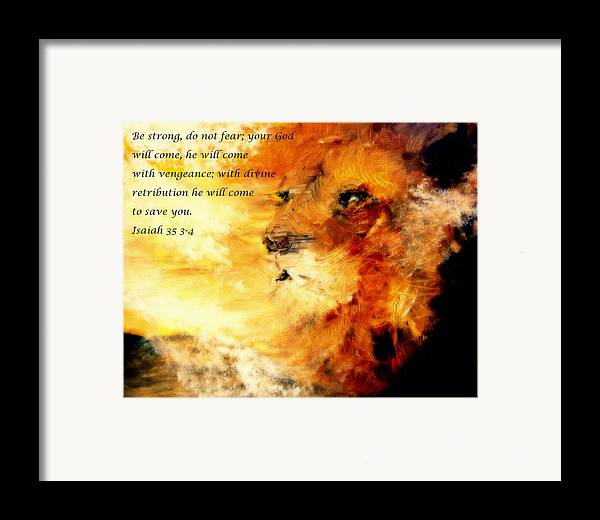 Lion Of Judah Framed Print featuring the painting Lion Of Judah Courage by Amanda Dinan
