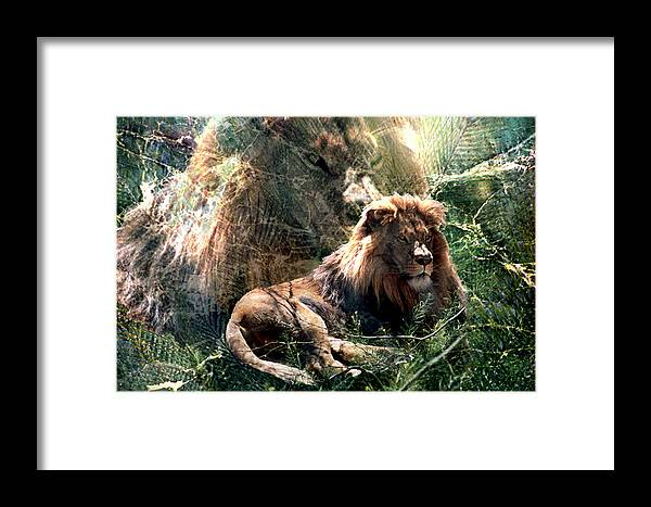 Lion Framed Print featuring the digital art Lion Spirit by Lisa Yount