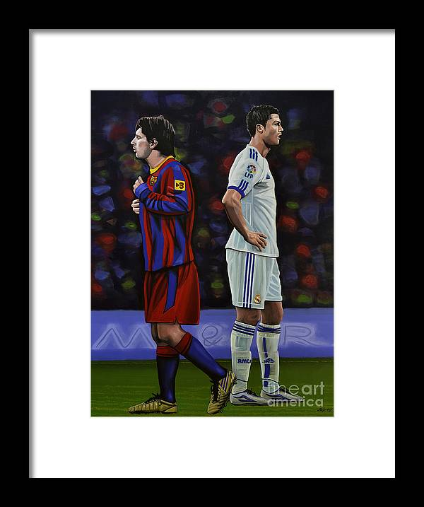 Lionel Messi Framed Print featuring the painting Lionel Messi and Cristiano Ronaldo by Paul Meijering