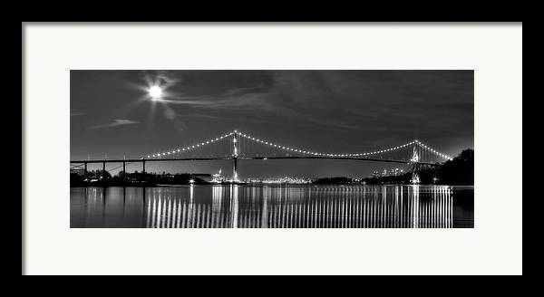 Lions Gate Bridge Framed Print featuring the photograph Lions Gate Bridge Black And White by Naman Imagery