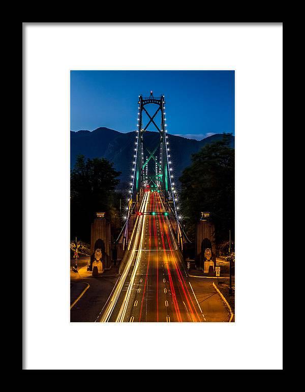 Lion's Gate Bridge Framed Print featuring the photograph Lion's Gate Bridge Vancouver B.c Canada by Pierre Leclerc Photography