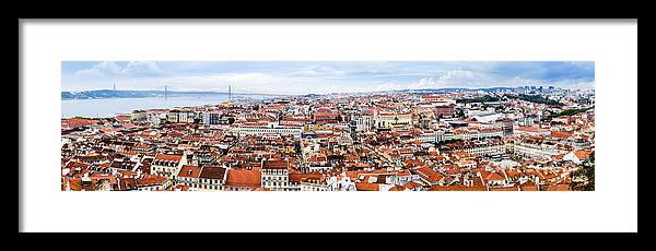 Alfama Framed Print featuring the photograph Lisbon Panoramic Skyline by Oscar Gutierrez