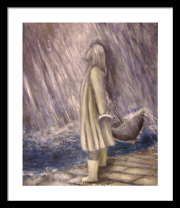 Woman Framed Print featuring the painting Listen To The Rhythm Of The Falling Rain.. by Lisa Carlen