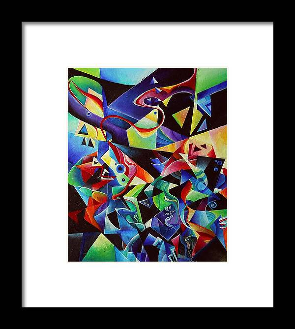 Arnold Schoenberg Piano Concert No.1 Acrylic Abstract Pens Music Framed Print featuring the painting listening to piano concert op.42 of Arnold Schoenberg by Wolfgang Schweizer