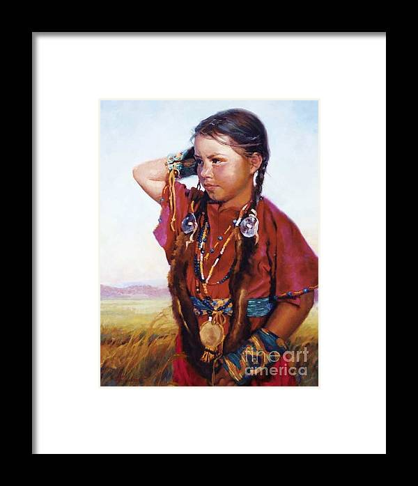 Indian Framed Print featuring the painting Little American Beauty II by Jean Hildebrant