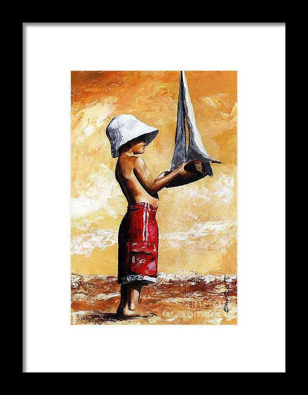 Little Boy Framed Print featuring the painting Little Boy In The Beach by Emerico Imre Toth