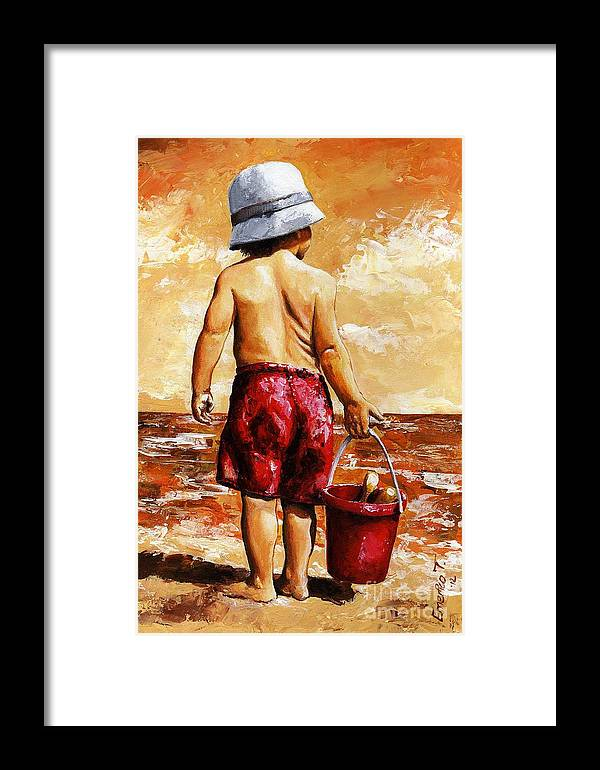Little Boy Framed Print featuring the painting Little Boy On The Beach II by Emerico Imre Toth