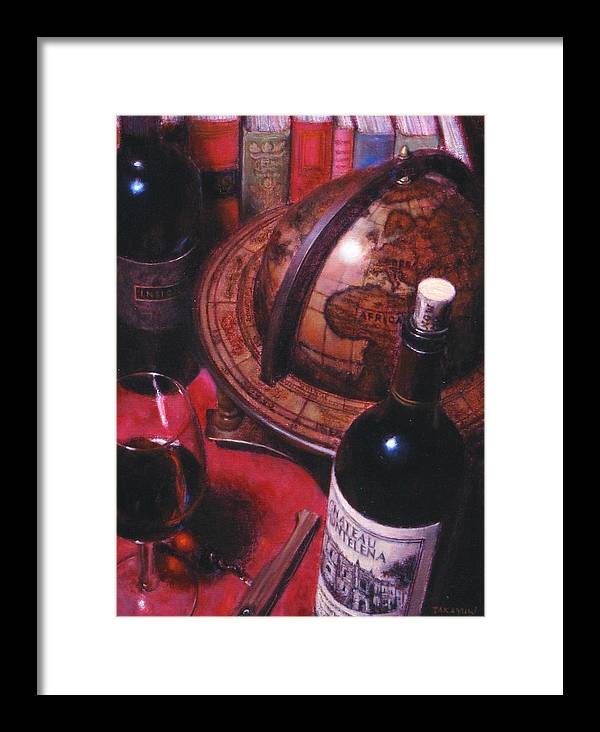 Wine Still Life Framed Print featuring the painting Little Break Fine Red Wine by Takayuki Harada