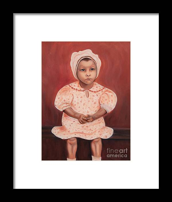 Girl Framed Print featuring the painting Little Cottonpicker by Blanch Paulin