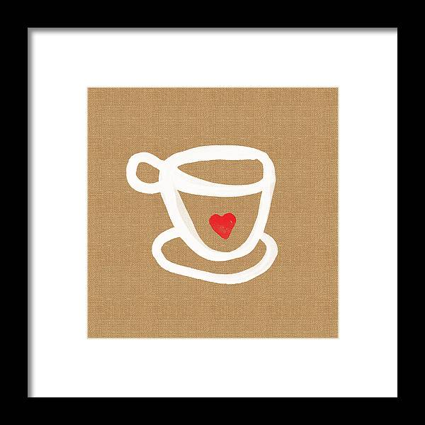 Teacup Framed Print featuring the painting Little Cup Of Love by Linda Woods