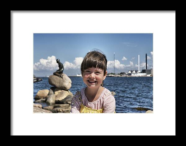 Happy Framed Print featuring the photograph Little Girl By The Little Mermaid by Martin Llado
