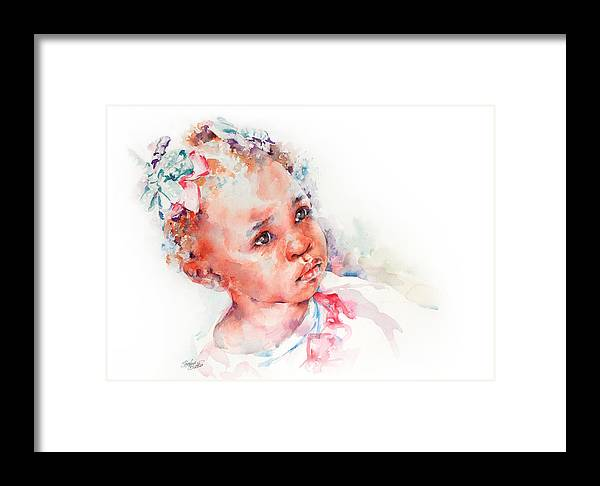 Africa Framed Print featuring the painting Little Miss Africa by Stephie Butler