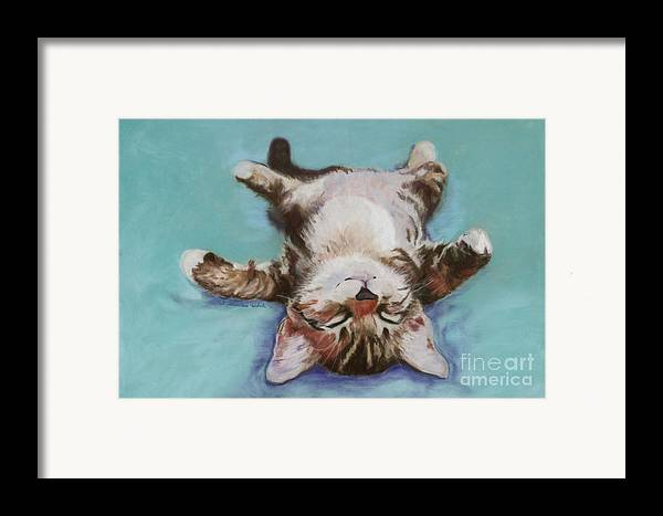 Cat Painting Framed Print featuring the pastel Little Napper by Pat Saunders-White