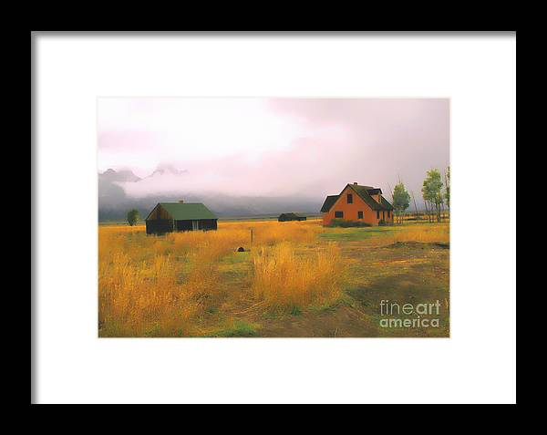Morning Framed Print featuring the photograph Little Pink House In The Tetons by Robert Kleppin