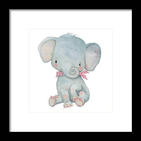 Watercolor Painting Framed Print featuring the digital art Little Pocket Elephant by Cofeee