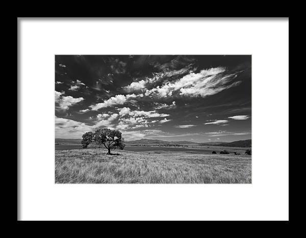 Big Sky Framed Print featuring the photograph Little Prarie Big Sky - Black And White by Peter Tellone
