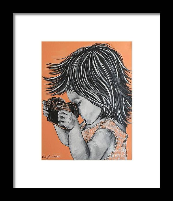 Portrait Framed Print featuring the painting Little Pro Photographer by Doreen Karales Zonts