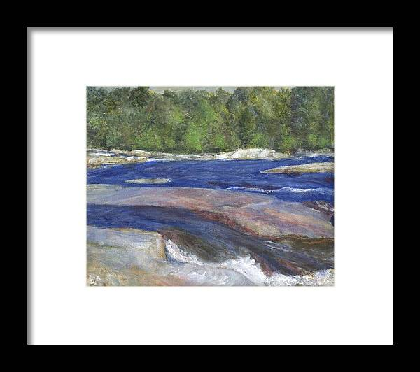 Moose River Framed Print featuring the painting Little Rapids by Sheila Mashaw