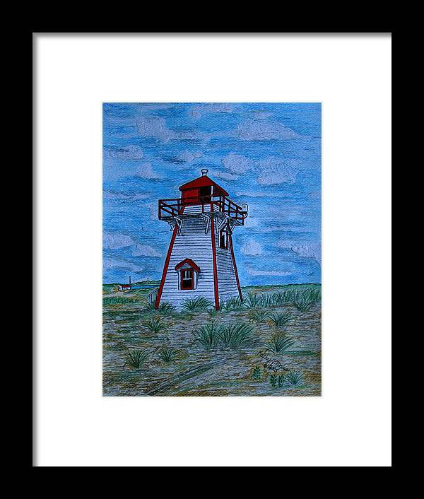 Red Framed Print featuring the painting Little Red And White Lighthouse by Kathy Marrs Chandler