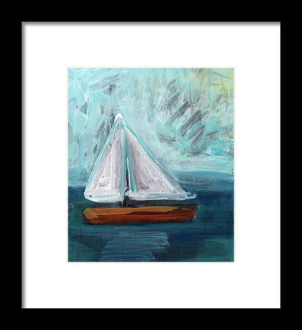 Boat Framed Print featuring the painting Little Sailboat- Expressionist Painting by Linda Woods