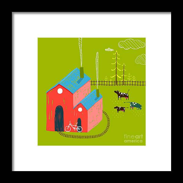Small Framed Print featuring the digital art Little Village House Rural Landscape by Popmarleo