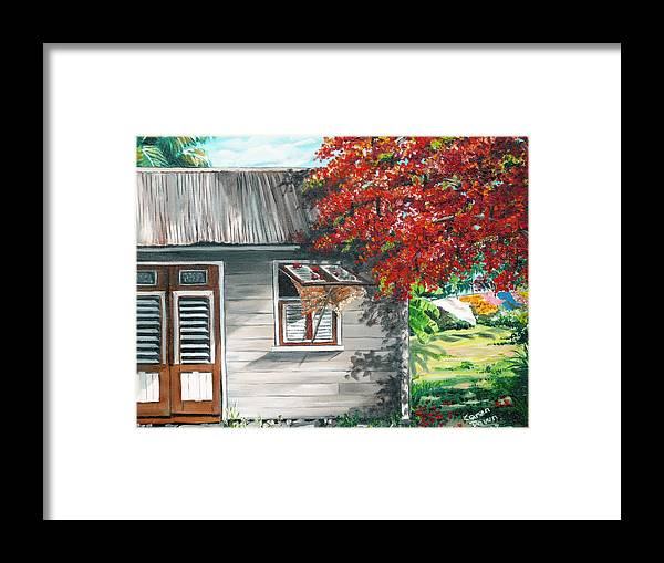 Caribbean Painting Typical Country House In The Caribbean Or West Indian Islands With Flamboyant Tree Tropical Painting Framed Print featuring the painting Little West Indian House 1 by Karin Dawn Kelshall- Best