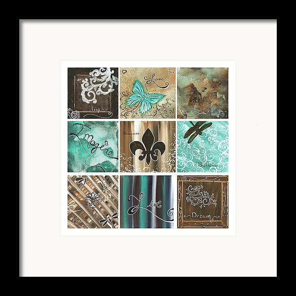 Abstract Framed Print featuring the painting Live And Love By Madart by Megan Duncanson