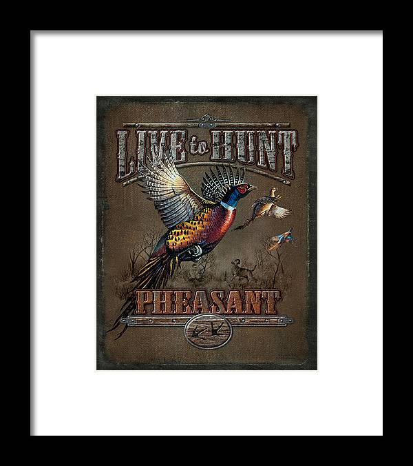 Cynthie Fisher Framed Print featuring the painting Live To Hunt Pheasants by JQ Licensing