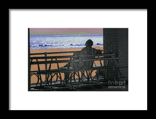 Man On Bench Framed Print featuring the photograph Living Inside Myself by Jeff Breiman