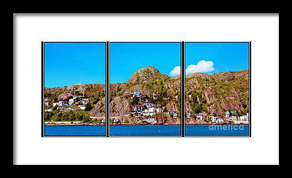 Living On The Edge Of The Battery Painterly Triptych Framed Print featuring the photograph Living On The Edge Of The Battery Painterly Triptych by Barbara Griffin