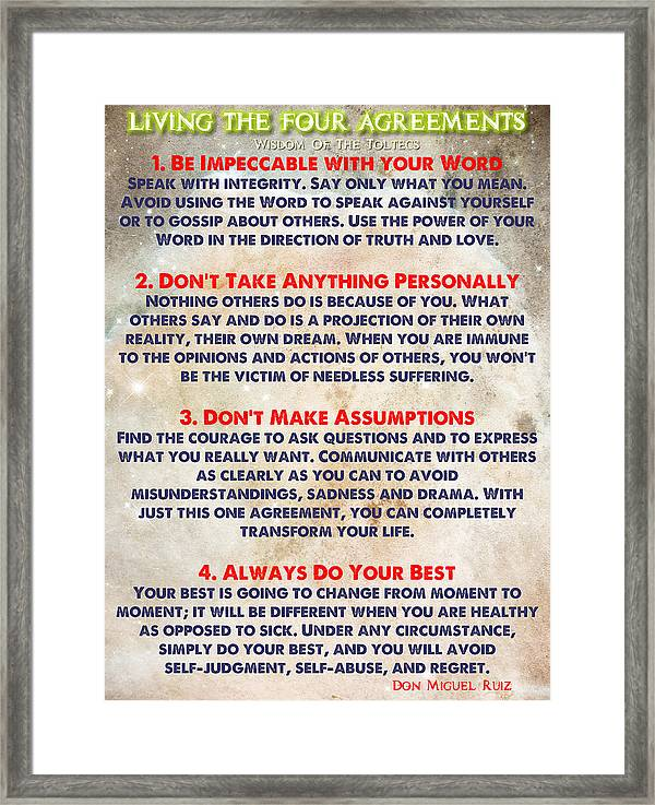 Living The Four Agreements - Wisdom Of The Toltecs - Inspirational Framed Print featuring the painting Living The Four Agreements - Wisdom Of The Toltecs by Celestial Images