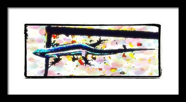 Lizard Framed Print featuring the digital art Lizard Landing by Lady Ex