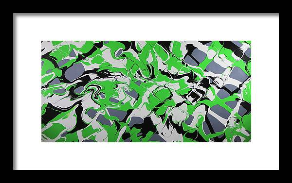 Lime Green Framed Print featuring the painting Lime Verve by Madeleine Arnett