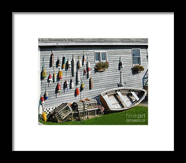 Lobster Pots And Buoys Framed Print featuring the photograph Lobster Pots And Buoys by Phyllis Taylor