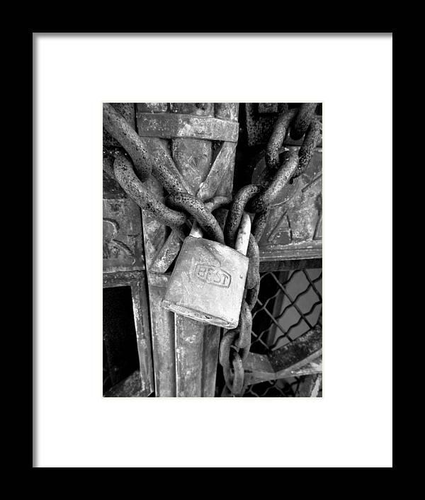Joseph Skompski Framed Print featuring the photograph Locked - Black And White by Joseph Skompski