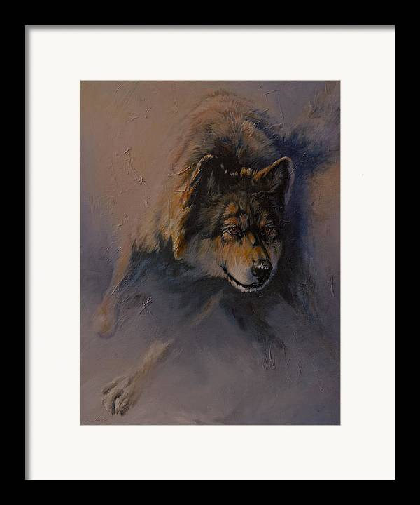 Wolves Framed Print featuring the painting Locked On Target by Mia DeLode