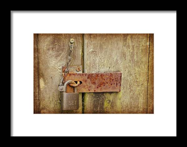 Wooden Door Framed Print featuring the photograph Locked Shut by Marilyn Wilson