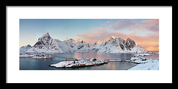 Tranquility Framed Print featuring the photograph Lofoten Islands Winter Panorama by Esen Tunar Photography