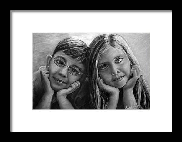 Boy Framed Print featuring the drawing Logan And Ashlyn Commission by Richelle Siska