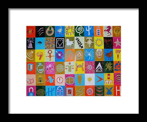 Framed Print featuring the painting Logos and symbols by Biagio Civale