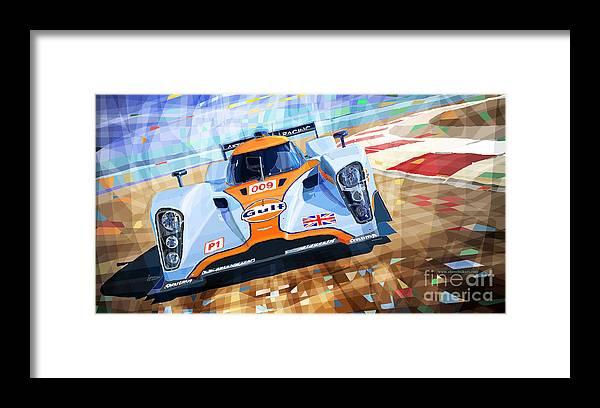 Automotive Framed Print featuring the mixed media Lola Aston Martin Lmp1 Racing Le Mans Series 2009 by Yuriy Shevchuk