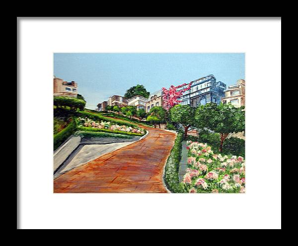 San Francisco Framed Print featuring the painting Lombard Street by Nancie Johnson