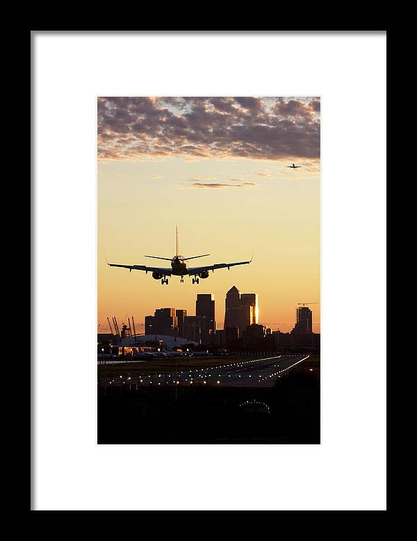 Taking Off Framed Print featuring the photograph London City Airport by Greg Bajor