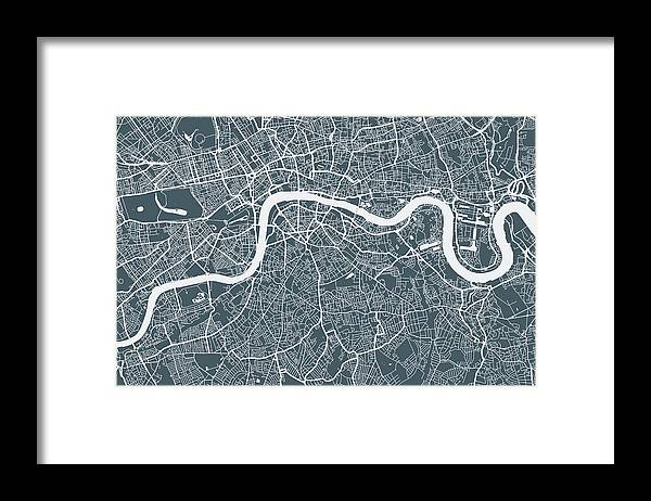 Art Framed Print featuring the digital art London City Map by Mattjeacock