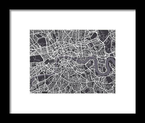 London Map Art Framed Print By Michael Tompsett