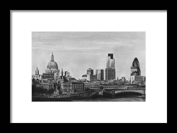 London Skyline Pencil Drawing Framed Print by David Rives