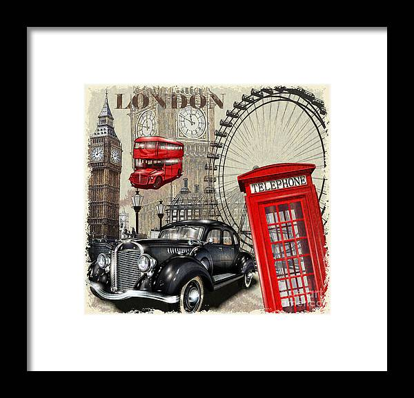 Bus Framed Print featuring the digital art London Vintage Poster by Axpop