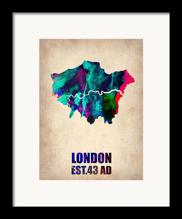London Framed Print featuring the painting London Watercolor Map 2 by Naxart Studio