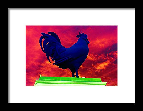 Rooster Framed Print featuring the photograph London's Blue Rooster by Richard Henne